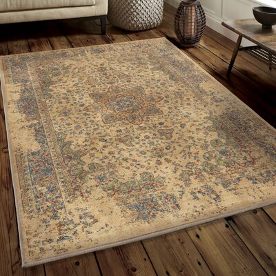Ponce Worn Traditional Beige/Blue Area Rug Rug Size: 53 x 76