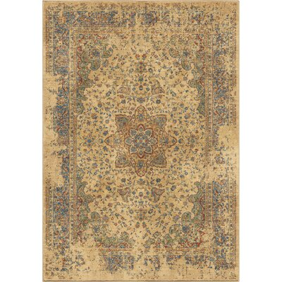 Ponce Worn Traditional Beige/Blue Area Rug Rug Size: 710 x 1010