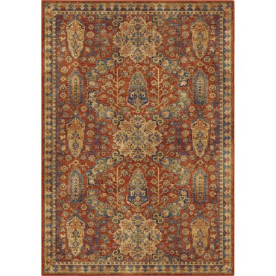 Ponce Red/Beige/Blue Area Rug Rug Size: 53 x 76