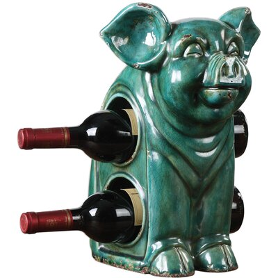 Ernesto Oink Ceramic 2 Bottle Tabletop Wine Bottle Rack