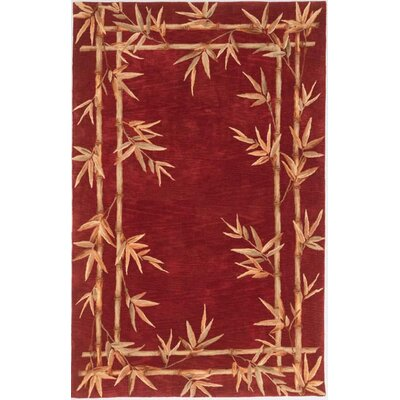 Seddiq Red Bamboo Border Area Rug Rug Size: 36 x 56