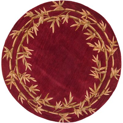 Chenai Red Bamboo Border Area Rug Rug Size: Round 56