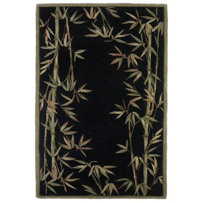 Chenai Black Bamboo Border Area Rug Rug Size: Rectangle 36 x 56