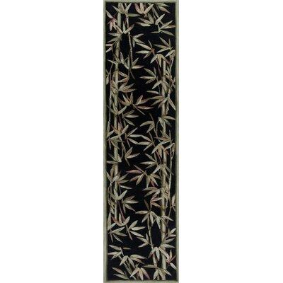 Chenai Black Bamboo Border Area Rug Rug Size: Runner 26 x 10
