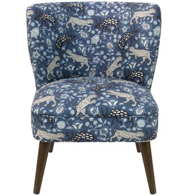 Nasir Leopard Curved Linen Side Chair