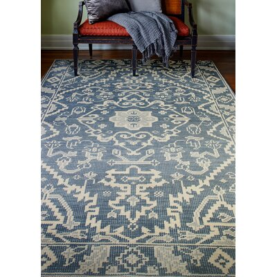 Ferran Hand-Knotted Azure Area Rug Rug Size: 86 x 116