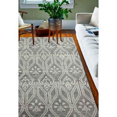 Ferran Hand-Knotted Grey Area Rug Rug Size: 86 x 116