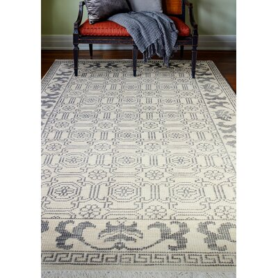 Ferran Hand-Knotted Ivory Area Rug Rug Size: 76 x 96