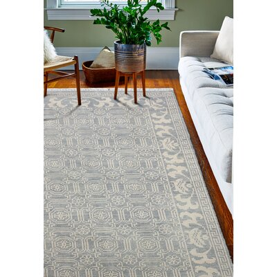 Cristhian Hand-Knotted Slate Area Rug Rug Size: 36 x 56