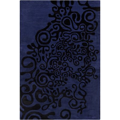 Fortson Hand Tufted Wool Violet-Blue/Black Area Rug Rug Size: 8 x 10