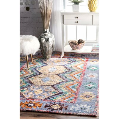 Wellton Hand-Tufted Blue/Yellow Area Rug Rug Size: 76 x 96