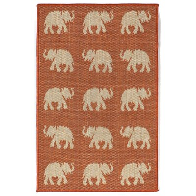 Slimane Elephants Indoor/Outdoor Rug Rug Size: 111 x 211