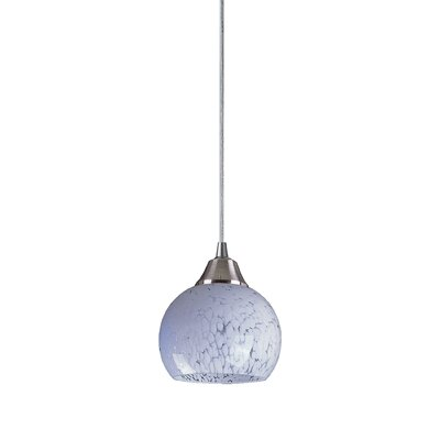 Kamina 1-Light Mini Pendant Finish: Satin Nickel and Snow White Glass, Bulb Type: Halogen