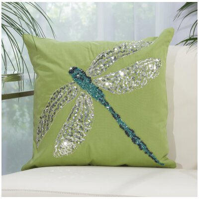 Telford Beaded Dragonfly Indoor/Outdoor Throw Pillow Color: Green