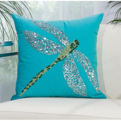 Telford Beaded Dragonfly Indoor/Outdoor Throw Pillow Color: Turquoise
