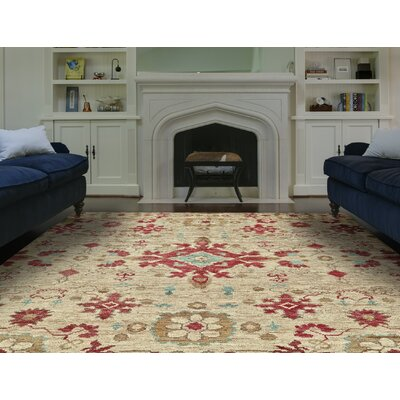 Camron Hand-Knotted Beige Area Rug Rug Size: 79 x 99