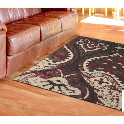 Abram Hand-Loomed Black/Red Area Rug Rug Size: 5 x 8