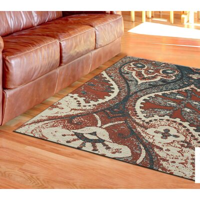 Joshawn Hand-Loomed Orange/Blue Area Rug Rug Size: 4 x 6