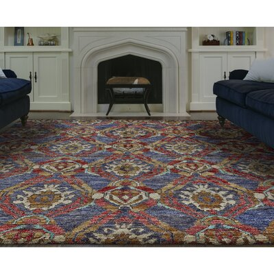 Arron Hand-Knotted Navy/Red Area Rug Rug Size: 96 x 136