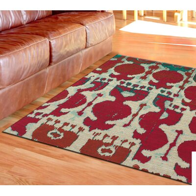 Abram Hand-Loomed Red/Teal Area Rug Rug Size: 2 x 3