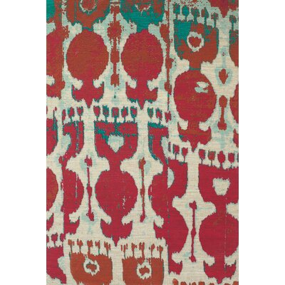 Abram Hand-Loomed Red/Teal Area Rug Rug Size: 4 x 6