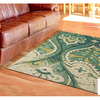 Joshawn Hand-Loomed Teal/Green Area Rug Rug Size: 4 x 6