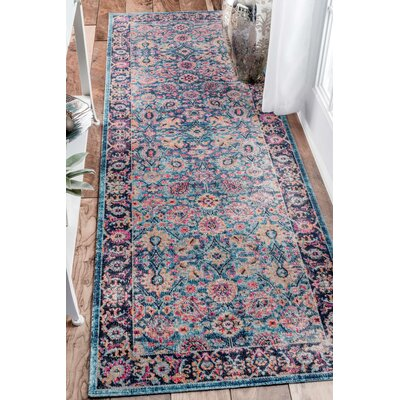 Coppola Blue Area Rug Rug Size: Runner 28 x 8