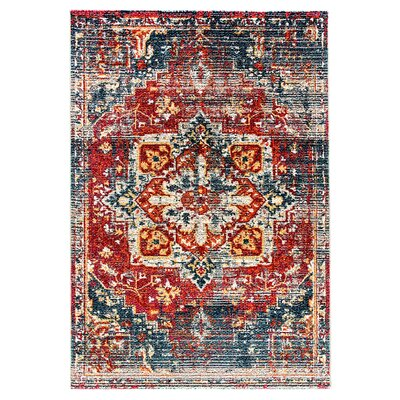 Zaiden Blue/Gray/Red Area Rug Rug Size: Rectangle 67 x 96