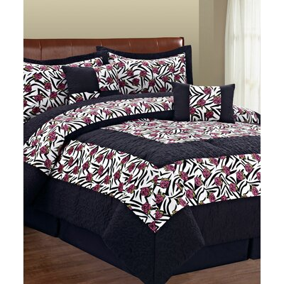 Kasia Zebra Flower 6 Piece Comforter Set Size: Queen