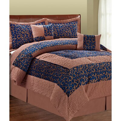 Kasia Blue Fall Cheetah 6 Piece Comforter Set Size: Queen
