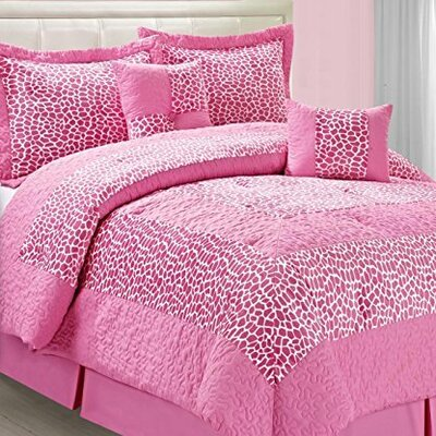 Kasia Pink Small Giraffe 6 Piece Comforter Set Size: King