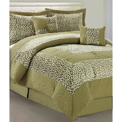 Rashad Green Giraffe 6 Piece Comforter Set Size: Queen