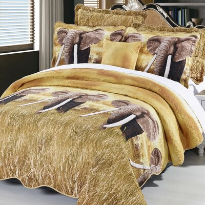 Kasia Elephant 4 Piece Coverlet Set Size: Queen