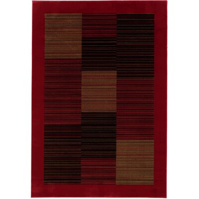 Amsbry Red/Black Area Rug Rug Size: Octagon 311