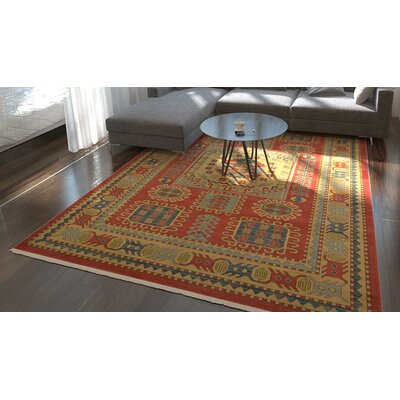 Jaida Red Tibetan Indoor Area Rug Rug Size: 33 x 53