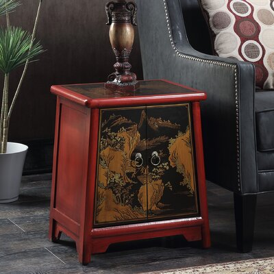 Raiden End Table Color: Black / Red