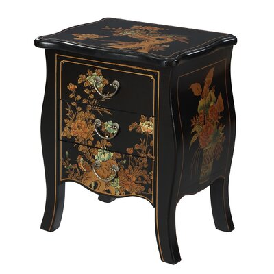 Raiden 3 Drawer End Table Color: Black
