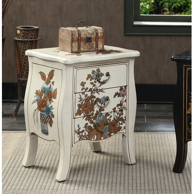Raiden 3 Drawer End Table Finish: White