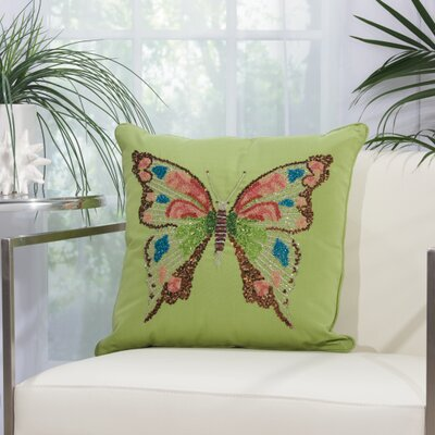 Telford Butterfly Indoor/Outdoor Throw Pillow Color: Green