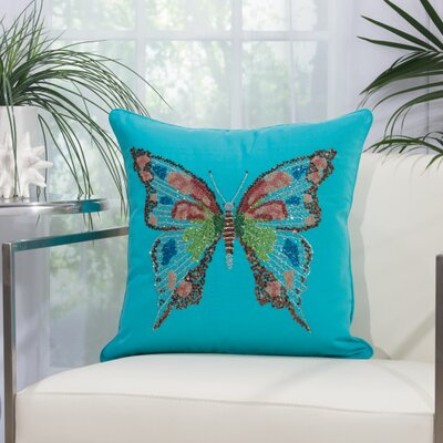 Bangor Butterfly Indoor/Outdoor Throw Pillow Color: Turquoise