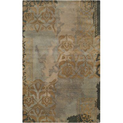 Brees Hand-Tufted Medium Gray/Camel Area Rug Rug Size: 33 x 53