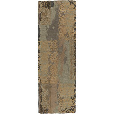 Brees Hand-Tufted Medium Gray/Camel Area Rug Rug Size: Runner 26 x 8