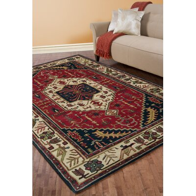 Morales Beige/Ruby Area Rug Rug Size: Rectangle 9 x 13