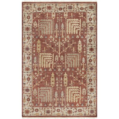 Carlisle Hand-Knotted Camel/Burgundy Area Rug Rug Size: Rectangle 2 x 3