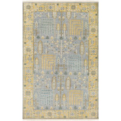 Carlisle Hand-Knotted Saffron/Light Gray Area Rug Rug Size: Rectangle 9' x 13'