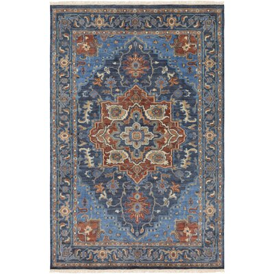 Edwards Hand-Knotted Bright Blue/Navy Area Rug Rug Size: 2 x 3