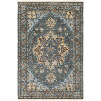 Carlisle Hand-Knotted Dark Green/Bright Blue Area Rug Rug Size: Rectangle 6' x 9'