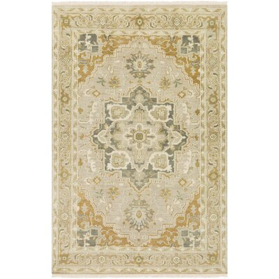 Carlisle Hand-Knotted Khaki/Mustard Area Rug Rug Size: Rectangle 6' x 9'