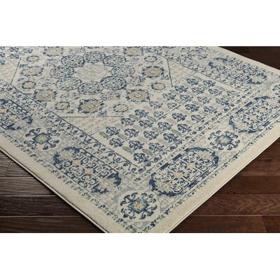 Cassian Oriental Navy/Taupe Area Rug Rug Size: Rectangle 2' x 3'