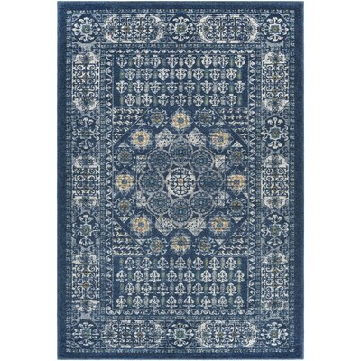 Cassian Navy/Cream Area Rug Rug Size: Rectangle 710 x 103